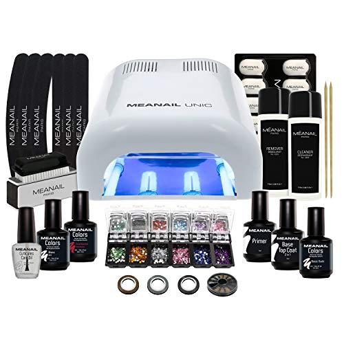 Meanail UV LED Lampara secador de uñas UV Gel Brillos Manicura uñas Set manicura Kit Decoración para uñas Nail factory Edition Deluxe