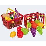3X Körbe für Kaufladen, Kinderküche, mit Obst und Gemüse gefüllt: Spielküche-Zubehör Kaufmannladen Kaufladenzubehör