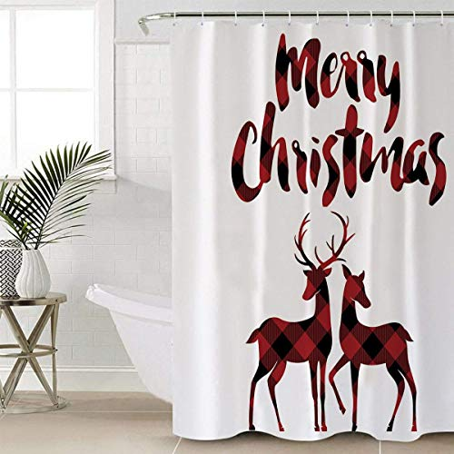 Libaoge Red Black Buffalo Check Plaid Christmas Reindeer Merry Christmas Soap Free Waterproof Polyester Fabric Bathroom Shower Curtain (72x72, Xmas Elk