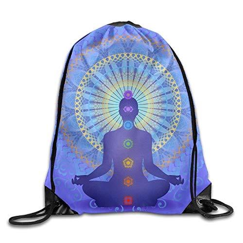 Etryrt Prime Sacs à Cordon,Sac à Dos, Chakras Yoga Casual Teen Girl Drawstring Backpack Lightweight Gym Sack Bag Hiking
