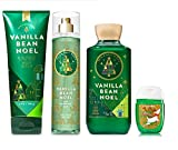 Bath and Body Work VANILLA BEAN NOEL Holiday Traditions Gift Set - Body Cream - Fine Fragrance Mist - Shower Gel & Free PocketBac Hand Sanitizers
