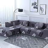 ASCV Funda de sofá Funda de sofá elástica Funda de sofá para Sala de Estar Funda de sofá de Esquina en Forma de L Chaise Longue A7 3 plazas
