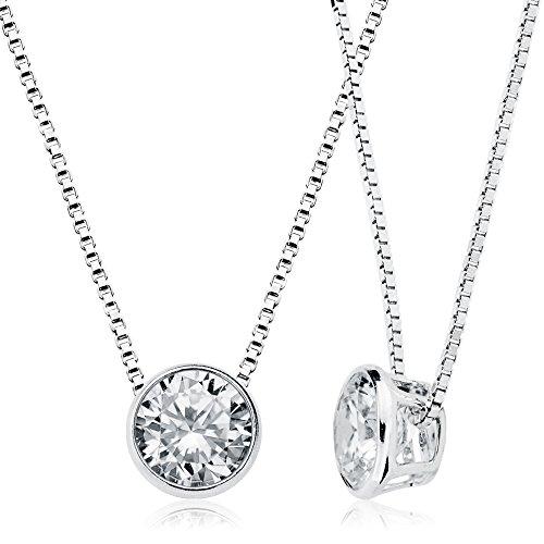 Halskette Mit Stein - Schwebender Stein Kette Damen 925 Sterling Silber 8mm Zirkonia - Halsketten Für Frauen Mit Silber Kette 925 Damen - Damenkette Silber - Schlichte Halskette