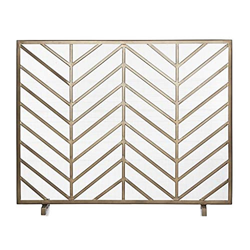Lowest Prices! Fireplace Screen Brushed Gold Finish Wrought Iron Fireplace Screen Heating Home Fire ...