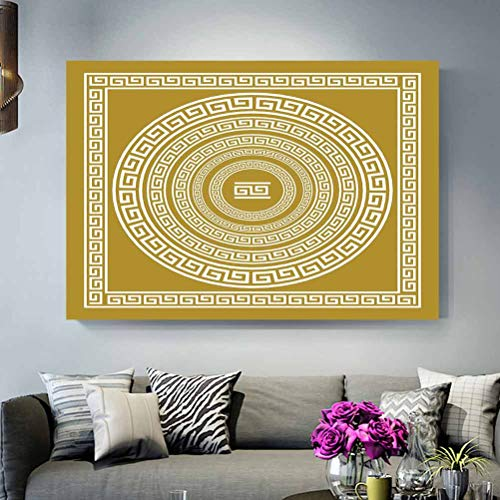 ScottDecor Wall Decor for No Frame Greek Key,Frieze with Vintage Ornament Meander Pattern from Greece Retro Twist Lines,Goldenrod White Best Gifts for Men 2020 L24 x H36 Inch