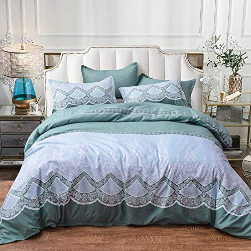 Yuany Parure de lit bohème, inspirée du modèle d'inspiration Marocaine, avec draps et taie d'oreiller Doux et Respirants, Vert, Simple: 135X200cm
