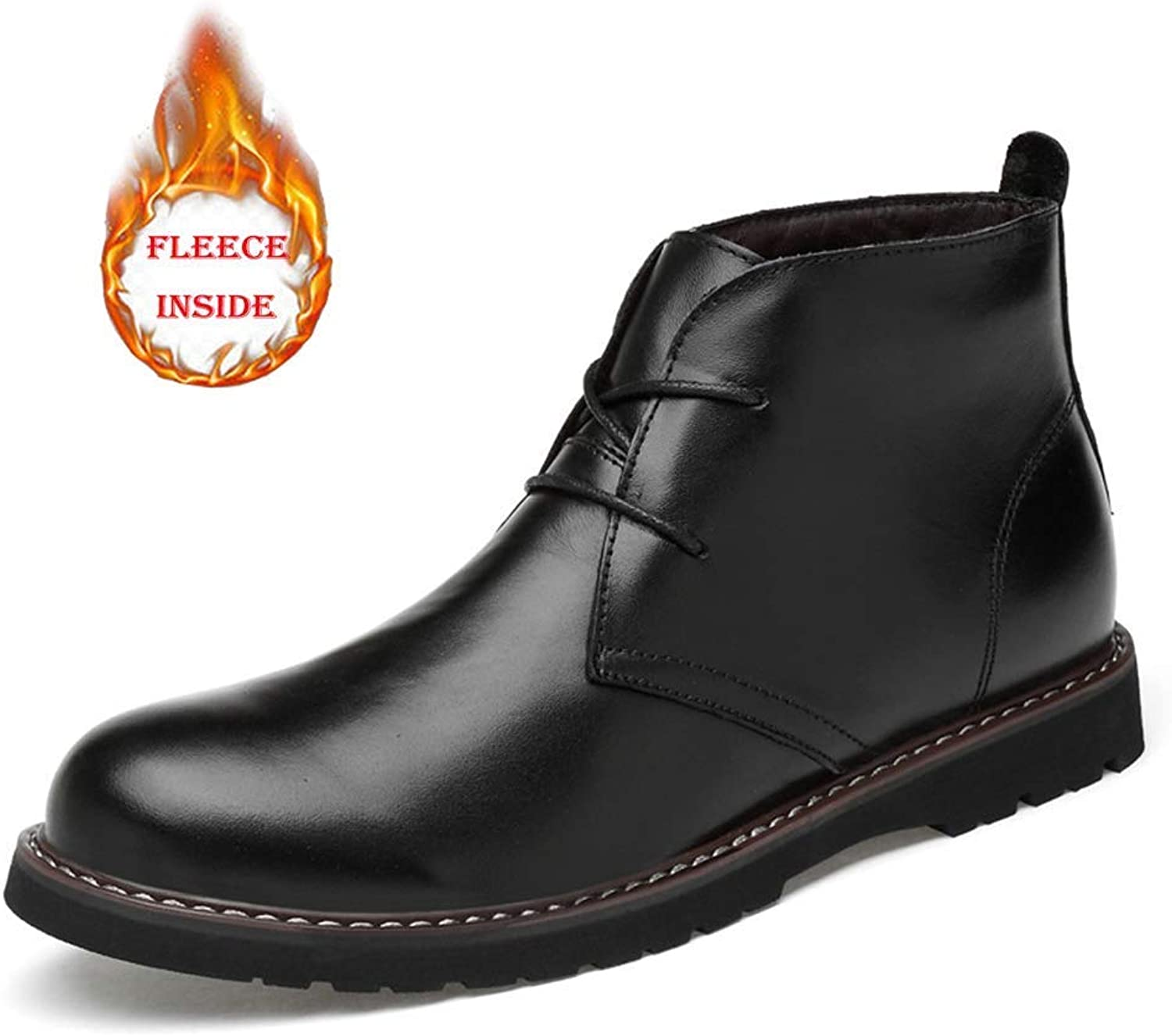 Fuxitoggo Stivaletti da Uomo High Top High-End Ox in Pelle Caldo Casual Softlavoro Sautope (Opzionale Convenzionali) (Coloreee  Warm nero, Dimensioni  45 EU) (Coloreee   Warm nero, Dimensione   42 EU)