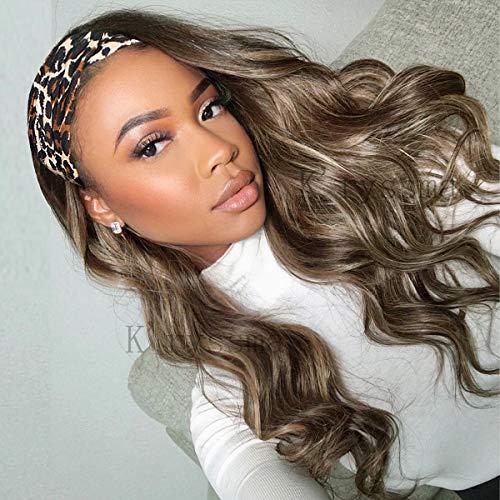 K'ryssma Brown Headband Wig Ombre Long Wavy Synthetic Wig with Dark Root High Density Body Wave Headband Wigs for Black Women
