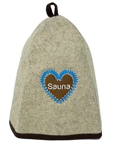 Saunamütze für Herren & Damen aus Filz als ideales Saunazubehör. Saunahut/Saunakappe für Männer und Frauen. (Filzkappe für finnisches Bad) (Lebkuchenherz)