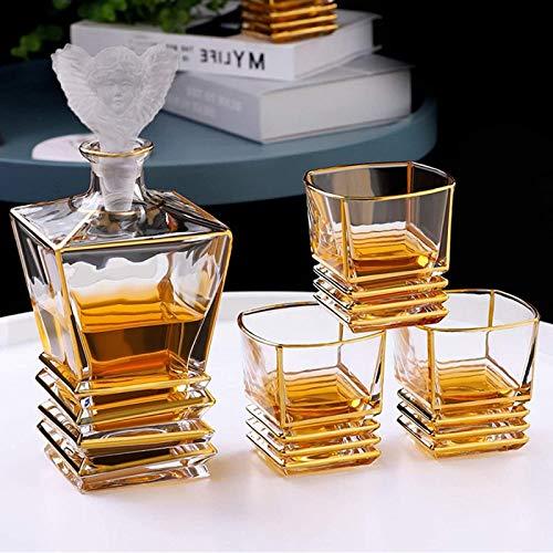 Jarra de whisky Conjunto de decantores de whisky, decantador de vinos con 4 gafas, dispensador de licor de bebidas bebidas, caja de regalo elegante única - conjunto de regalos para hombres de licor, e