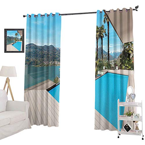 """YUAZHOQI Room Darkening Blackout Window Curtains Modern House Beautiful Patio with Pool Outdoor Wooden Deck Timber Residence Phot, Curtain Panels for Kid Room 52"""" x 63"""", Aqua Green"""