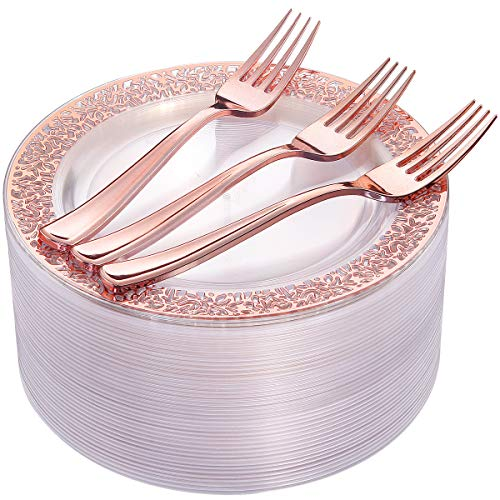 "72 Pieces Rose Gold Dessert Plates 7.5"" & 72 Pieces Disposable Forks 7.4"", Clear Lace Design Plastic Salad Plates, BPA Free Appetizer Plates for all Holidays & Occasions"