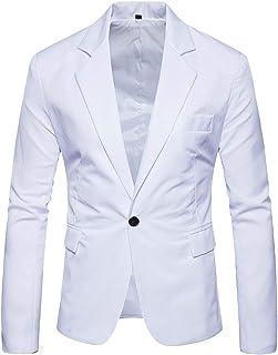 Huixin Men's One Button Blazer Gentleman Suit Jacket Slim Fit Banquet Coat Party Blazer Elegant Tuxedo Coat