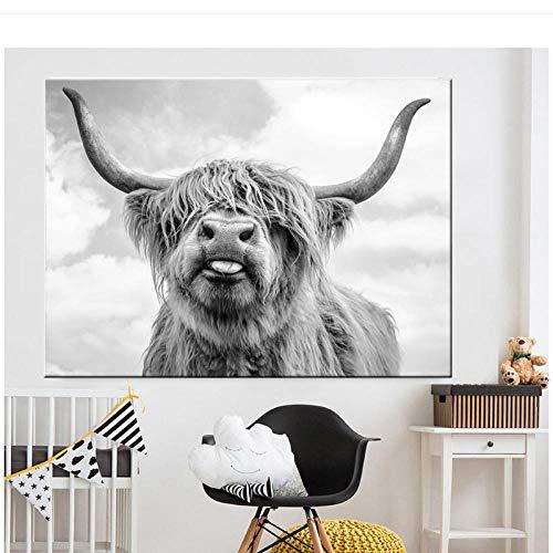 dayanzai Schwarz Und Weiß Highland Cow Cattle Wand Leinwand Kunst Nordic Malerei Poster Und Print Skandinavischen Wandbild Für Wohnzimmer-70X100 cm-Kein Rahmen (A)