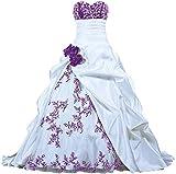 Zorayi Damen Elegante Kapelle Zug Prinzessin Ballkleid Brautkleid Hochzeitskleider Weiß & Lila Größe 50