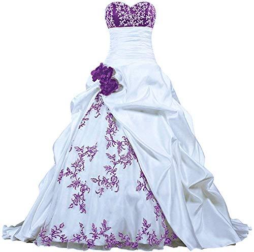 Zorayi Damen Elegante Kapelle Zug Prinzessin Ballkleid Brautkleid Hochzeitskleider Weiß & Lila Größe 36
