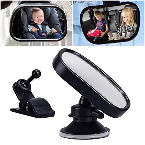 Luoistu espejo bebe coche, espejo de observación para ver al bebé o niños en el asiento para niños. con ventosa y clip (9 * 5.5cm)