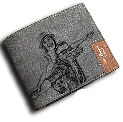 Personalisierte Herrenbrieftasche Benutzerdefinierte Kurze Brieftasche Gravur Foto Text Papa Geschenk(Grau Einseitig F)