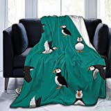 Flannel Fleece Throw Blanket, Puffin Bird Soft Cozy Microfiber Durable Couch Blankets Home Decor Perfect for Bed and Sofa for All Season, (80'x 60')
