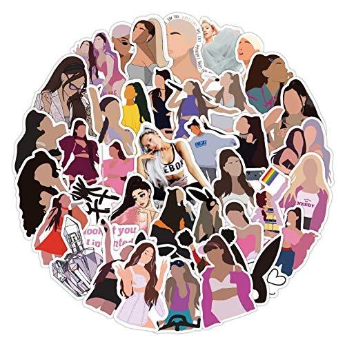 WEIGUANG Cantante Ariana Grande Graffiti Stickers Maleta Impermeable Pegatinas de Scooter para portátil 50 Hojas