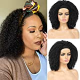 Afro Kinky Curly Headband Wig Curly Black for Black Women, Half Wigs with Adjustable Headbands Shoulder Length Wigs Synthetic Hair Heat Resistant Wigs for Women and Girls Daily Wear