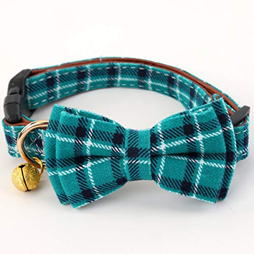 SuperBuddy Bell Cat and Dog Collar with Bowtie - Cute Plaid Bowtie,Soft and Comfortable,Adjustable...