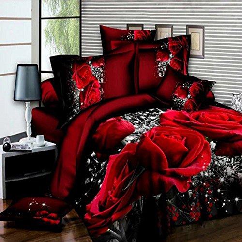 Zantec 4 STÜCKE Bett Set mit 3D Große Rote Rose Floral Bettwäsche sets Hochzeit Bettbezug Blatt Kissenbezüge