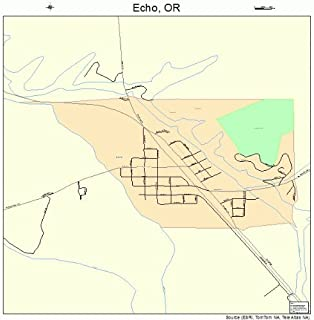 Large Street & Road Map of Echo, Oregon OR - Printed poster size wall atlas of your home town