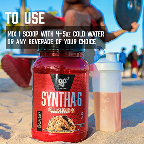 BSN Syntha-6 Whey Protein Powder, Cold Stone Creamery- Cookie Doughn't You Want Some, Micellar Casein, Milk Protein Isolate Powder, 25 Servings