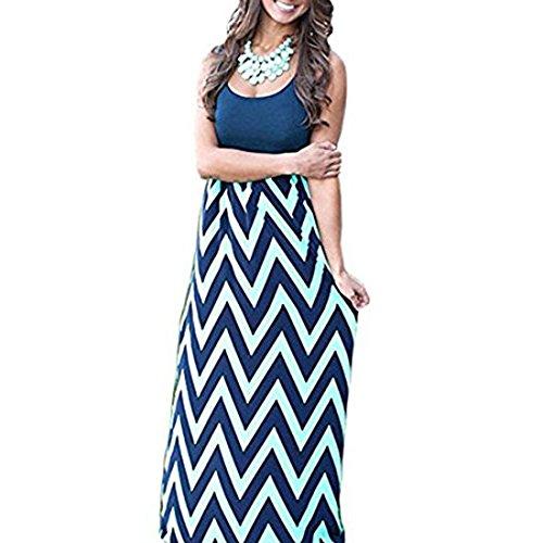 Cloudsemi Damen Sommerkleid Kleider Maxikleid Streifen Schulterfrei Rundhals High Waist Lang Kleid Partykleid (S, Blau)