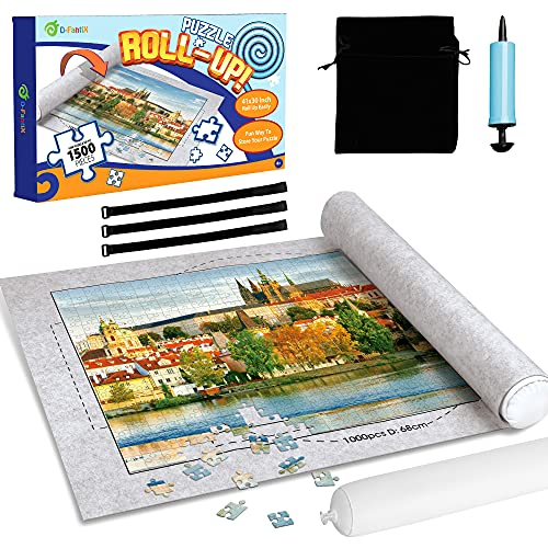 D-FantiX Jigsaw Puzzle Mat Roll Up, Puzzle Saver Store 500 1000 1500 Pieces Felt Puzzle Mat for Jigsaw Puzzles, Inflatable Tube, 3 Elastic Fasteners, Premium Pump and Storage Bag 41 x 30 Inch