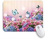 Alfombrilla de ratón Decorativa para Juegos,Blooming Spring Rose Butterfly Violeta Floral Flor Rosa ...