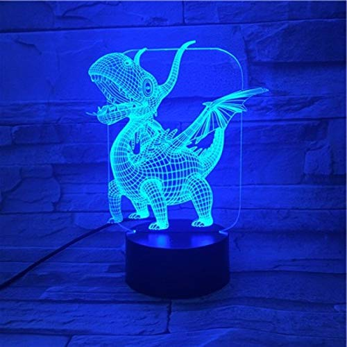 Creativo animal dragón luz de la noche lámpara de mesa 3D multicolor LED creativo dormitorio lámpara decoración regalo de vacaciones
