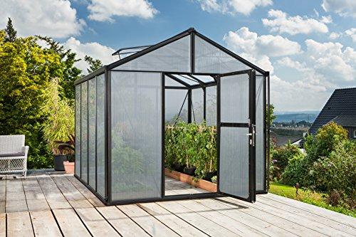 Gartenwelt Riegelsberger Gewächshaus Zeus - Ausführung: 8100 HKP 16 mm schwarz, Fläche: ca. 8,1 m², mit 2 Dachfenster, Fundamentmaß: 2,66 x 3,24 m