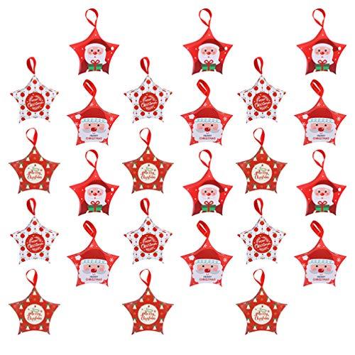 Nuobesty 24 peças de caixas de doces de Natal em forma de estrela, caixas de presente de papai noel de Natal, caixas de biscoitos para árvore de Natal, decorações de pendurar para festas de casamento