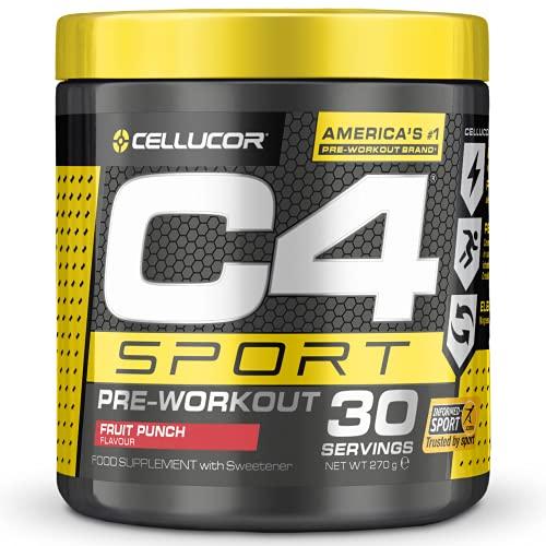 C4 Sport - Suplemento en polvo para preentrenamiento - Cóctel de frutas | Bebida energética para antes de entrenar | 135mg de cafeína + beta alanina + creatina | 30 raciones