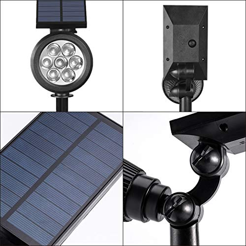 Solar Landscape Spotlights, Bright 7 LED Solar Lights Outdoor, Dusk-to-Down Waterproof Landscape Lighting, Adjustable 2-in-1 Solar Powered Outdoor Wall Light for Flag Pole, Tree (6000K Bright White)