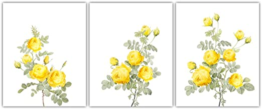"HPNIUB Vintage Rose Art Print,Yellow Flowers Botanical Wall Art Set of 3 (8""X10""),Watercolor Floral Canvas Poster for Girl..."