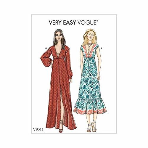 Vogue Patterns Vestido feminino, 6-8-10-12-14-16-18-20-22, vermelho
