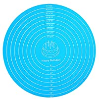 cdugas クッキングマット 丸型製菓マット シリコンマット 大きいサイズ マット オーブンパンマット マット 食品級シリコーン 滑り止め 調理 製菓道具 30cm(ブルー)