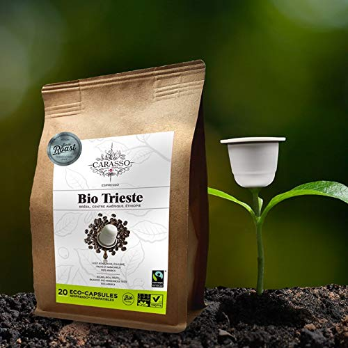 Carasso Bio Trieste Espresso – 20 aluminiumfreie & kompostierbare Bio-Kaffeekapseln, Nespresso® kompatibel