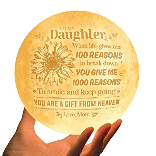 Doptika Engraved Moon Lamp Night Light - Never Forget That I Love You - Moon Light with Touch Control Brightness - from Mom/Dad to Daughter (ML-057-MomDau) Christmas Gifts for Her