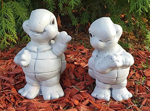 Gartendeko Figuren 2-Set niedliche Schildkröten, frostfest, echte Handarbeit, Höhe: je 23cm, Gewicht: je 2,7kg, Deko Gartenfiguren für außen, Balkon, Terrassen, Garten und als Geburtstagsgeschenk