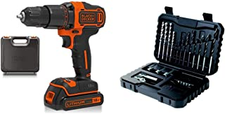 BLACK+DECKER 18 V Cordless 2-Gear Combi Hammer Drill Power Tool with Kitbox, 1.5 Ah Lithium-Ion, BCD700S1K-GB with BLACK+D...