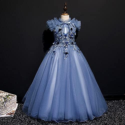 SUNXC Mujer Vestido Halloween Princesa, Vestido de Noche de Hilo Esponjoso con Falda de Princesa-Blue_120cm,Disfraces De Niñas Vestido