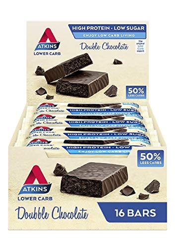 Atkins High Protein Bar, Keto Snack, Low Carb, Low Sugar Double Chocolate Decadence Snack Bar, Multipack of 16