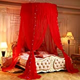 Mengersi Mosquito Net Canopy Bed Curtain Star Twin Full Queen/King Size Bed. Princess Girl Boy Bed (Round Canopy, Red)