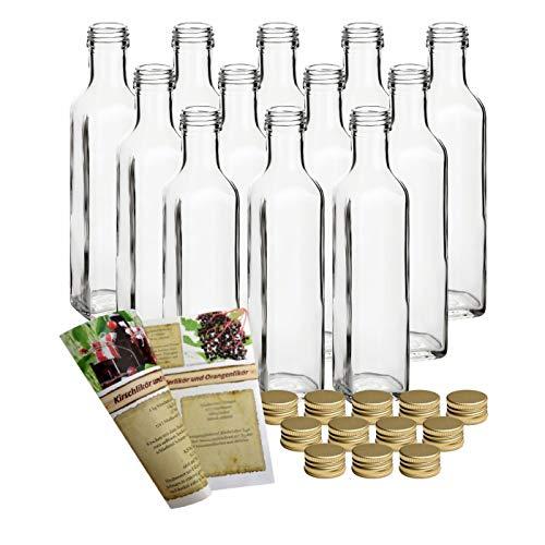gouveo 12er Set Flasche Maraska 250 ml inkl. Schraubverschluss Gold, Likörflaschen, Schnapsflaschen, Essigflaschen, Ölflaschen