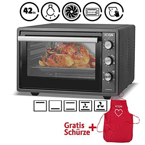 ICQN Minibackofen 42 Liter mit Umluft | Pizza-Ofen | Mini Ofen | Innenbeleuchtung | Doppelverglasung | Timer Funktion | Emailliert Anthrazit