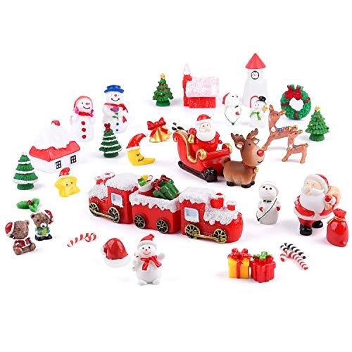 MIAHART Miniature 40Pcs di Natale Ornamenti di Mini della Resina Micro Paesaggio Ornamenti, Alberi di Natale Babbo Natale Pupazzo di Neve Corona di Campane per Feste di Natale